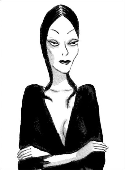 Morticia of the Addams Family in Black and White