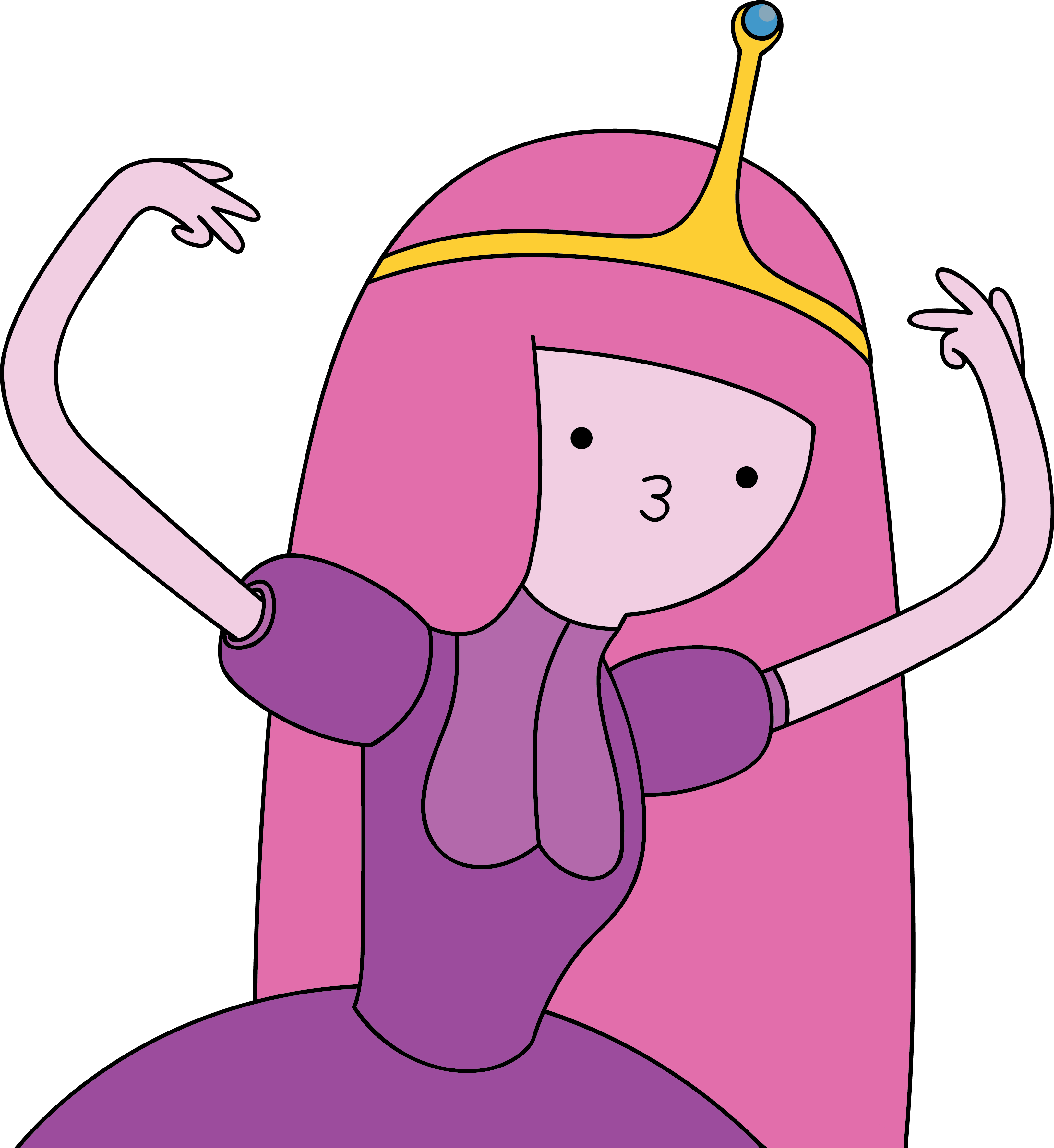 Princess Bubblegum, an all-pink princess with kissy lips