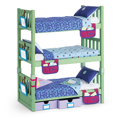 Stackable beds triple bunk american girl doll furniture for Stackable bed plans
