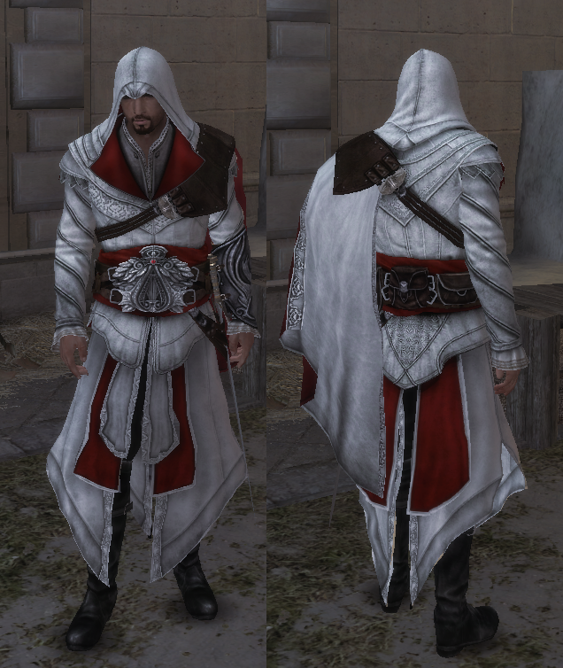 Ezio Brotherhood http://assassinscreed.wikia.com/wiki/File:Ezio-plainrobes-brotherhood.png