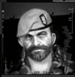Captain john price wearing the standard sas uniform and sand colored