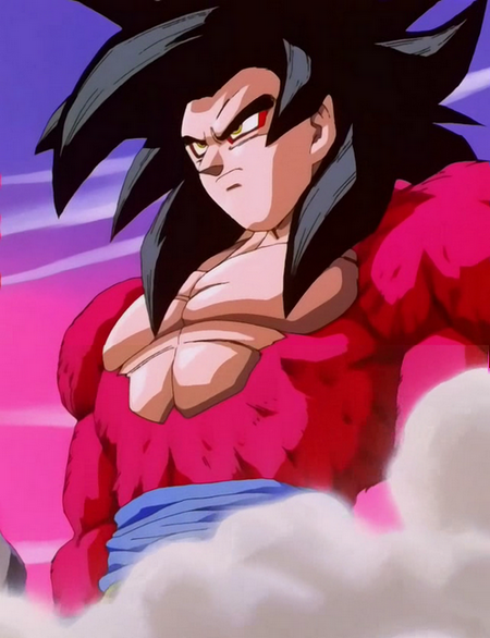 super saiyan level 4 goku.  he will transform into the Ultimate Saiyan Power Level: Super Saiyan 4.