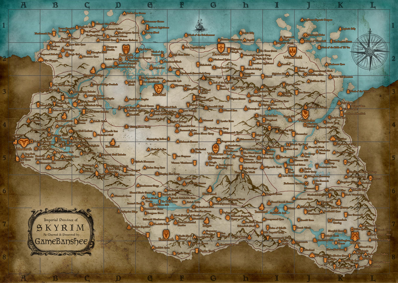 Du kan finde en kæmpe udgave af skyrim map her