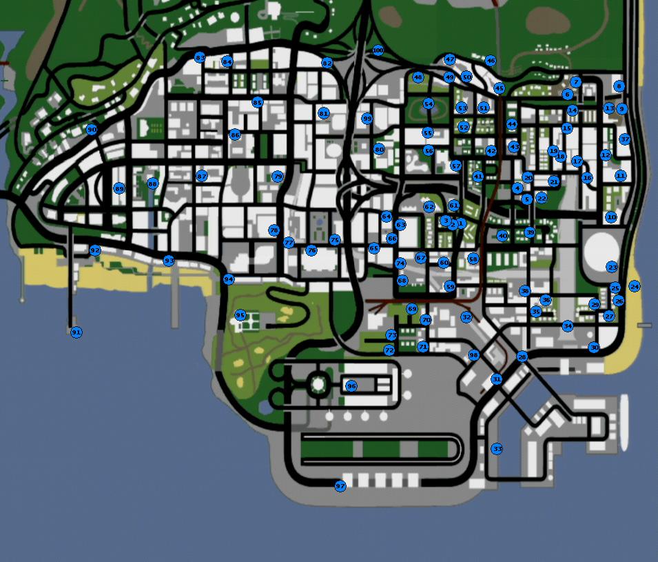Imagen mapa de grafitis los santos gta san andreas grand