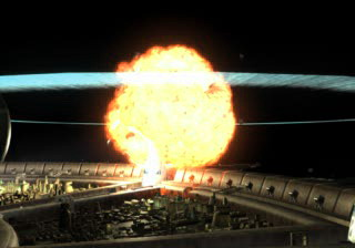 A still from security camera footage of the explosion of Midgar's Sector One Reactor. (Provided by ShinRa)