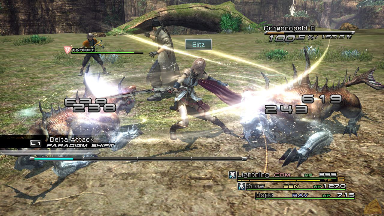 An average battle scene in Final Fantasy 13