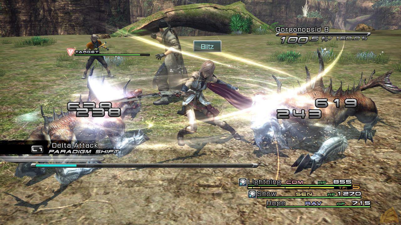 An average battle scene in Final Fantasy 13