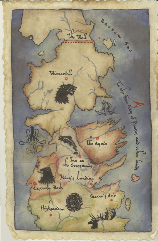 game of thrones map of the north. Westeros - Game of Thrones