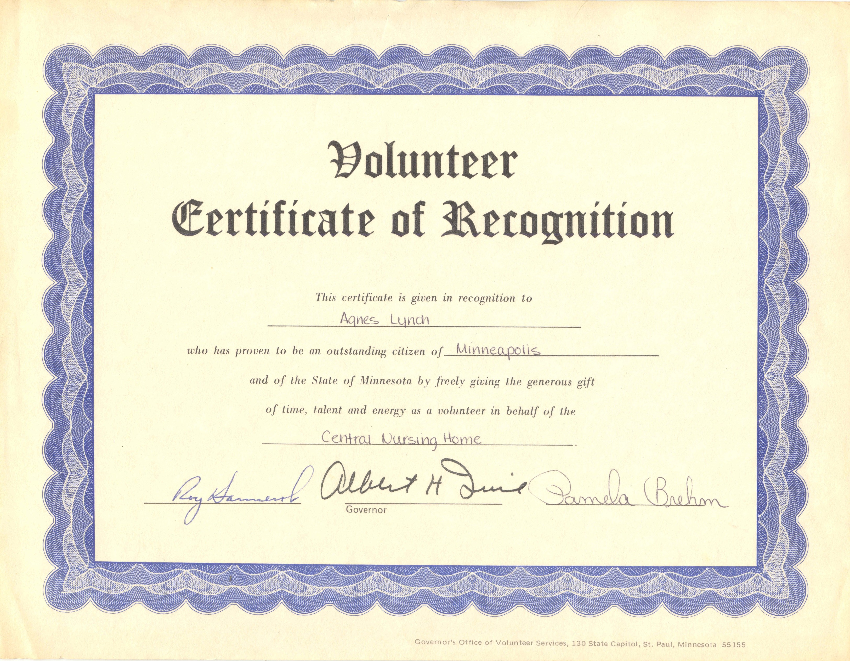 volunteer recognition certificate template - volunteer certificate template