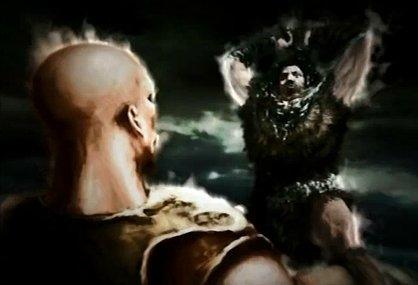 God of War 1 Reseña Personal. El_rey_apunto_de_aplastar_a_Kratos_con_su_martillo