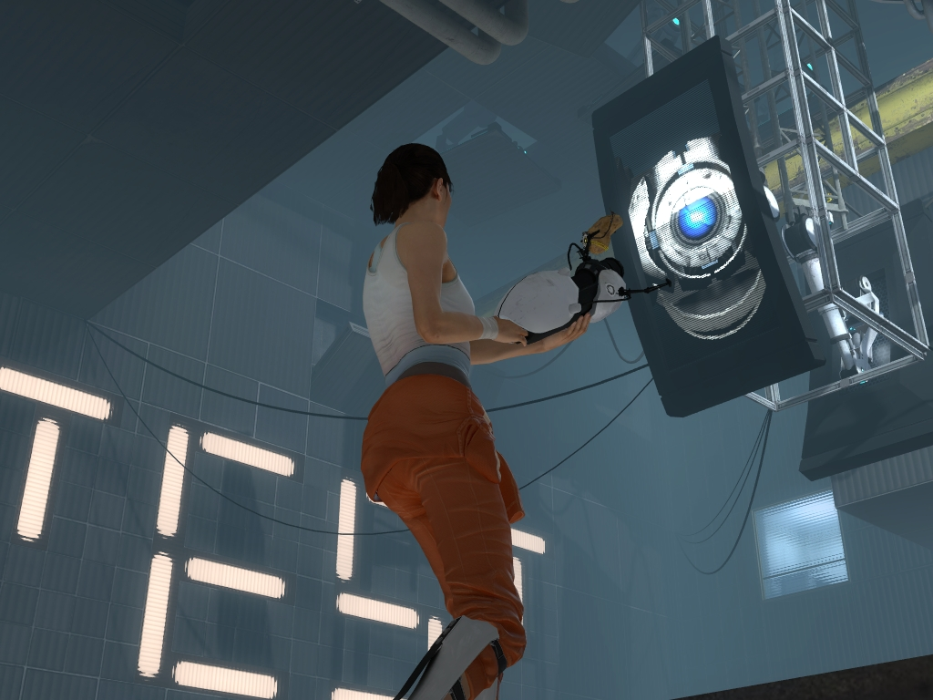 Image - Chell facing wheatley.jpg - Half-Life Wiki