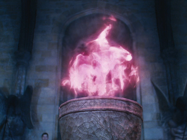 The Goblet of Fire! Anyone wishing to submit themselves to the tournament need only write their name upon a piece of parchment and throw it in the flame before this hour on Thursday night. Do not do so lightly! If chosen, there's no turning back. As from this moment, The Triwizard Tournament has begun.
