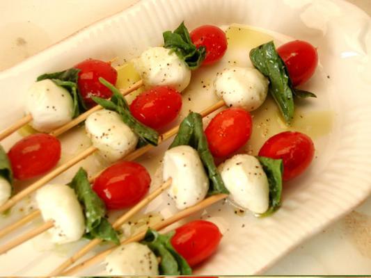 Tomato, Basil Mozzarella Skewers | Candy Stilettos