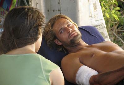 Sawyer revealing his true self to fellow castaway Kate