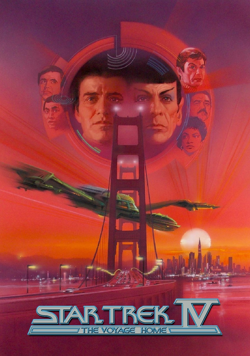 A movie poster for Star Trek IV featuring the faces of all the crew members around the Golden Gate Bridge and a spaceship.