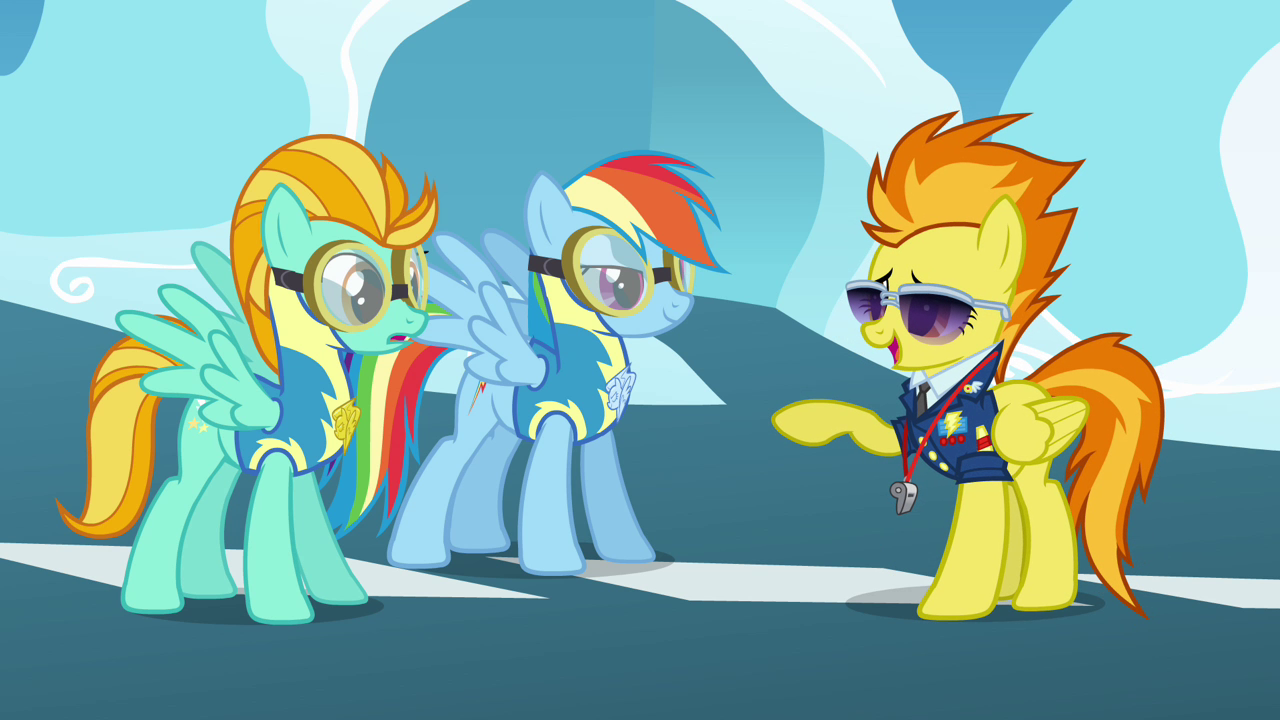 http://images.wikia.com/mlp/images/2/27/Spitfire_points_at_Rainbow_and_Lightning_S3E07.png