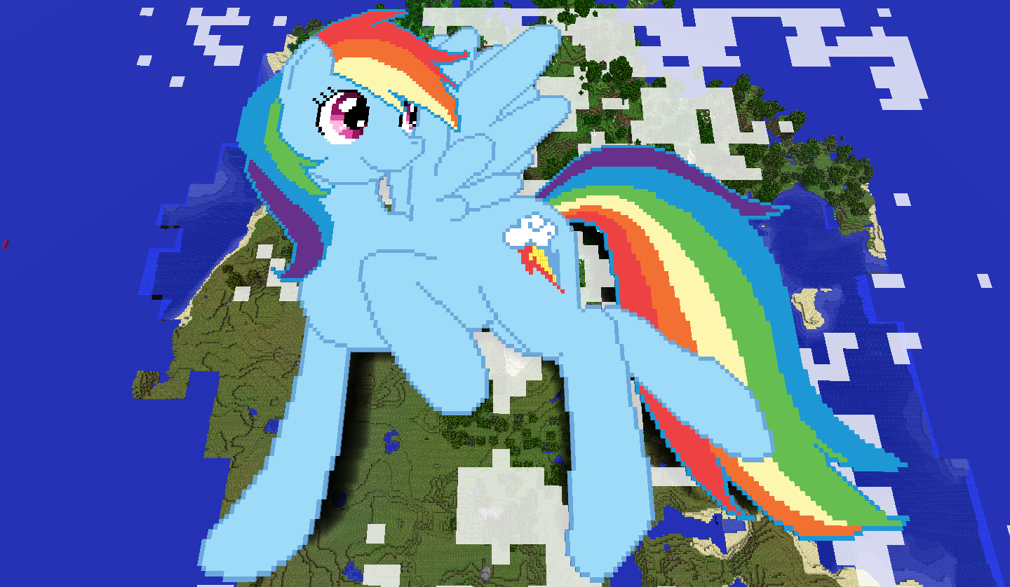 Pony Pixel Art Template http://mlpfanart.wikia.com/wiki/File:Rainbow_Dash_above_a_map_pixel_art.png