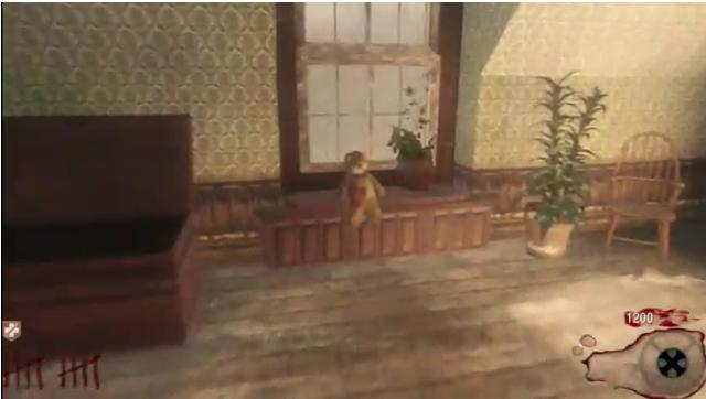 The first version is a room that there is a Teddy Bear on a dresser shown