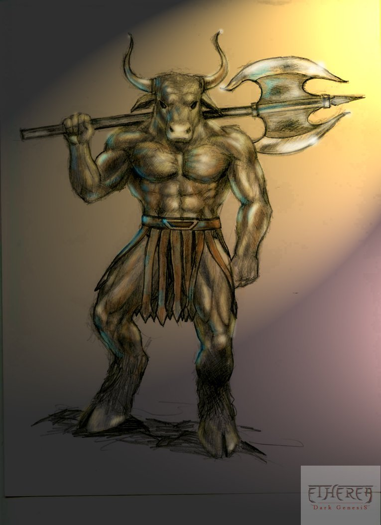 how to draw a minotaur from percy jackson