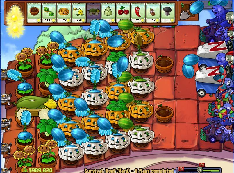 Plants vs zombies survival roof hard reset