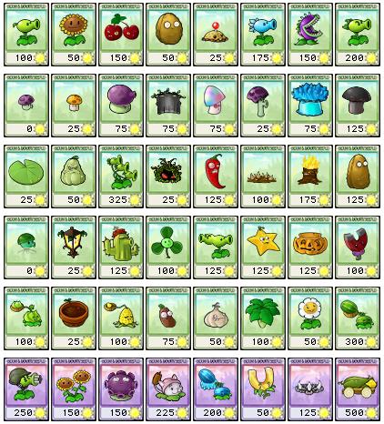 Cartas de plantas