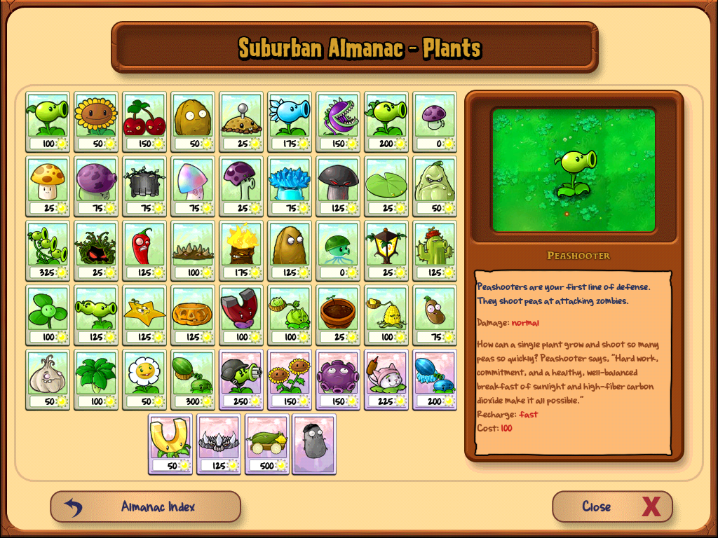 Plants Vs Zombies 2 Almanac