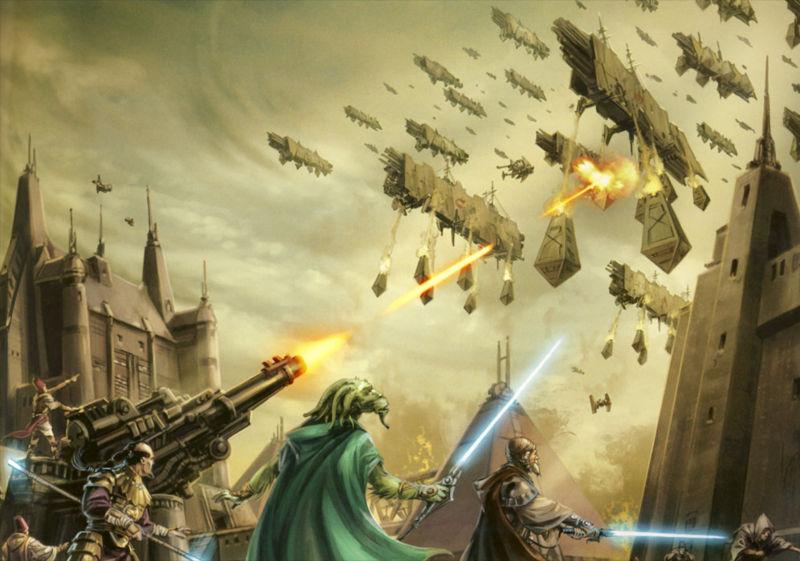 A Ordem Jedi lutando contra as forças de Naga Sadow em Coruscant.