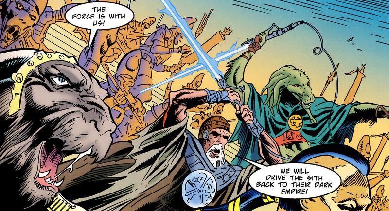 Mestres Jedi Memit Nadill, Tuknatan e Sonam-Ha'ar lutando contra os Sith na Batalha de Coruscant.
