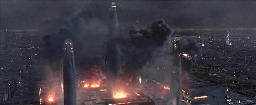 As ruínas com fumaça do Templo Jedi seguido do ataque por Darth Vader e a 501ª Legião.