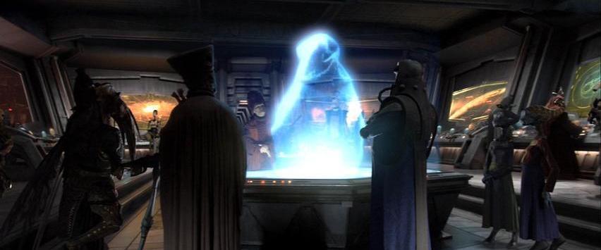O Conselho Separatista em Mustafar momentos antes de ser massacrado por Darth Vader.