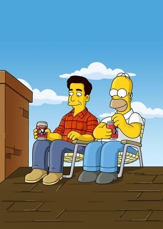 Homer Simpson and Ray Romano