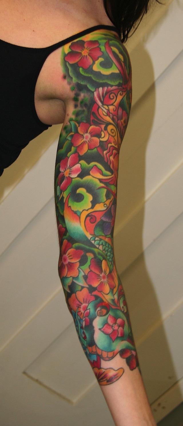 lower arm sleeve tribal tattoo