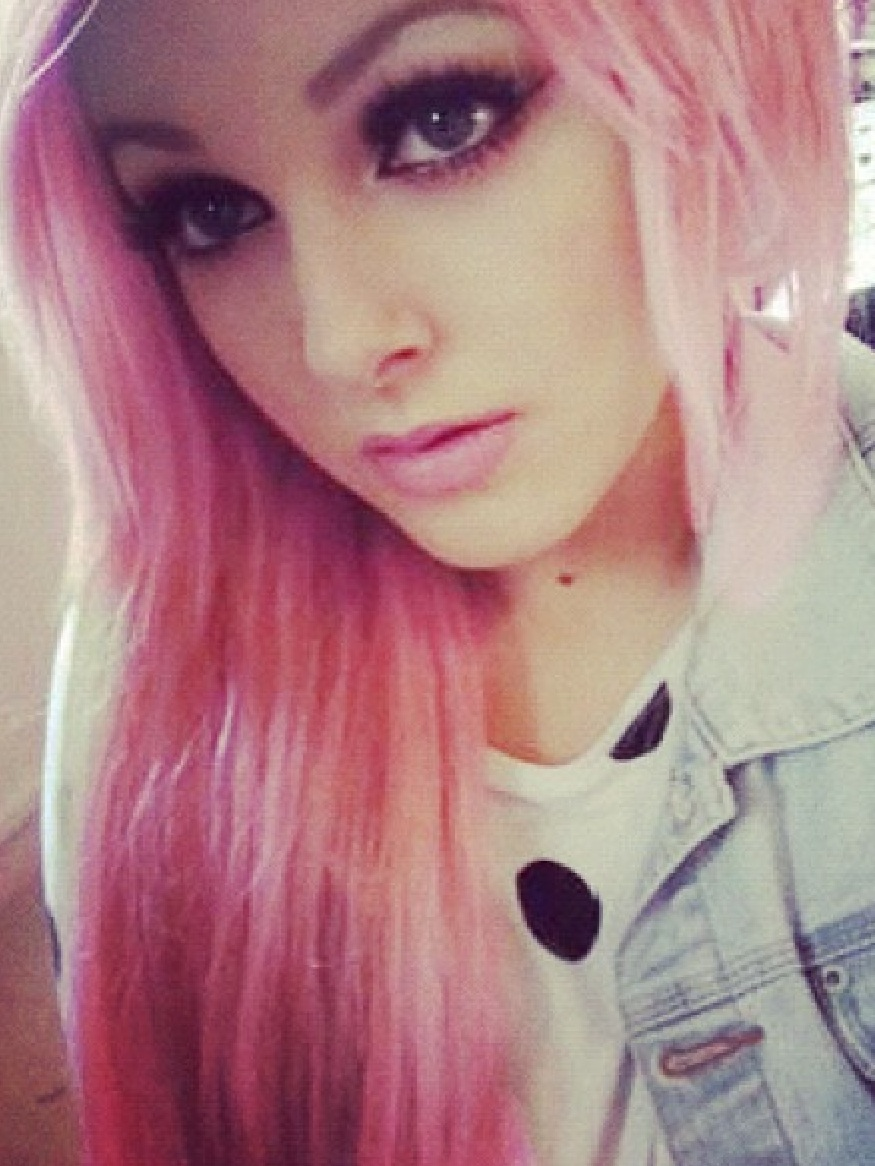 Light skin girls with pink hair