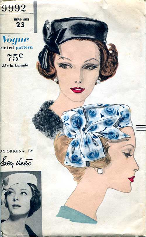 Vogue 9992 1960s hat pattern Sally Victor