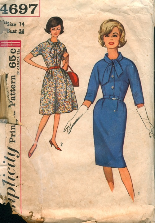 1950s 1960s  dress day ascot bow vintage pattern Just Peachy, Darling
