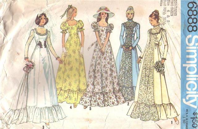 vintage wedding dress patterns. Vintage 70s Wedding Gown,