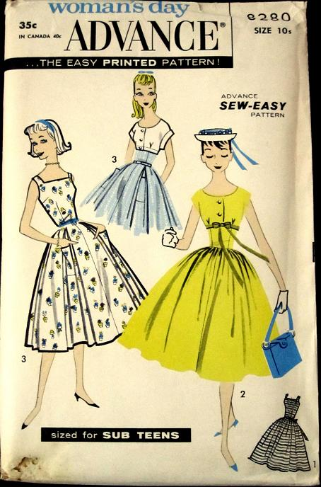 1950s retro dress vintage pattern Just Peachy, Darling