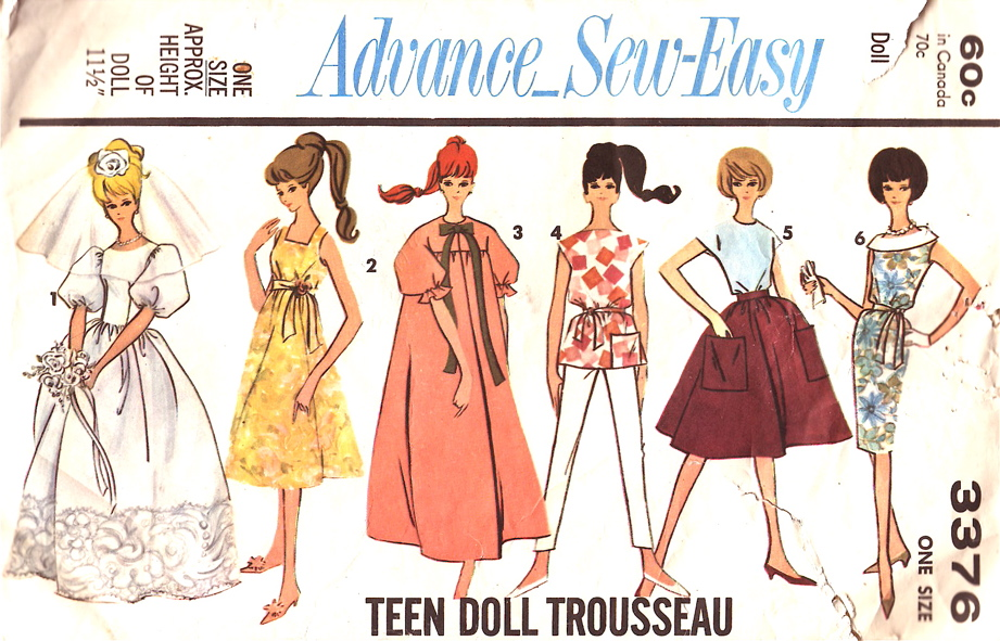 Advance Pattern 3376 Sew Easy Teen Doll Barbie Trousseau Wedding Dress