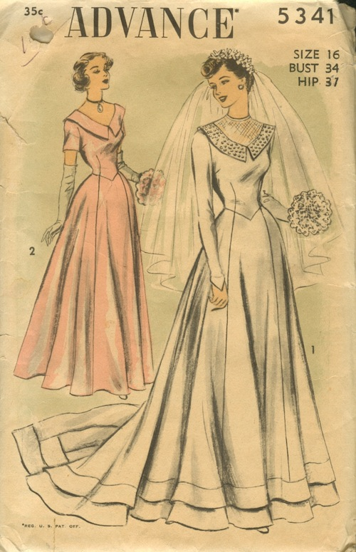 Advance 5341 ca early 1950s View 1 Longsleeve Wedding Gown with Train