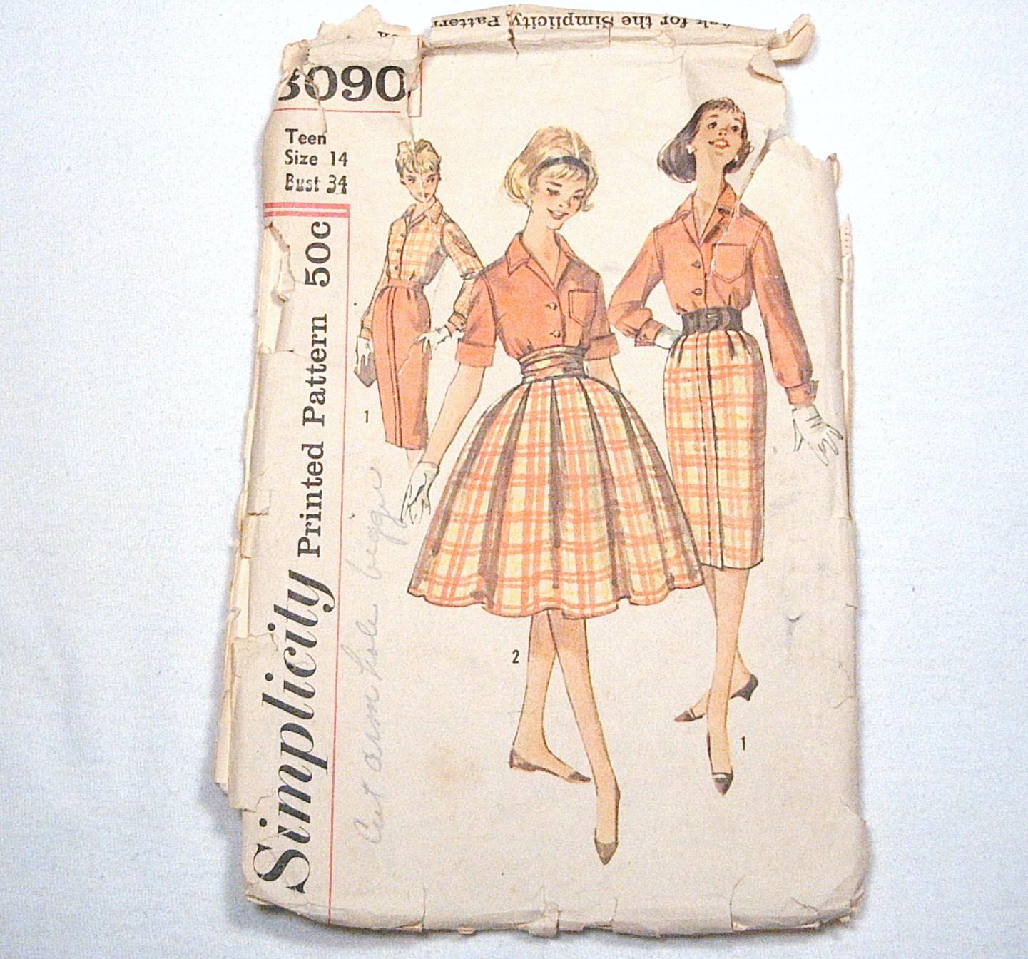 Simplicity 3090 Teen Blouse & Skirt & Cummerbund Sewing Patterns, circa 1959