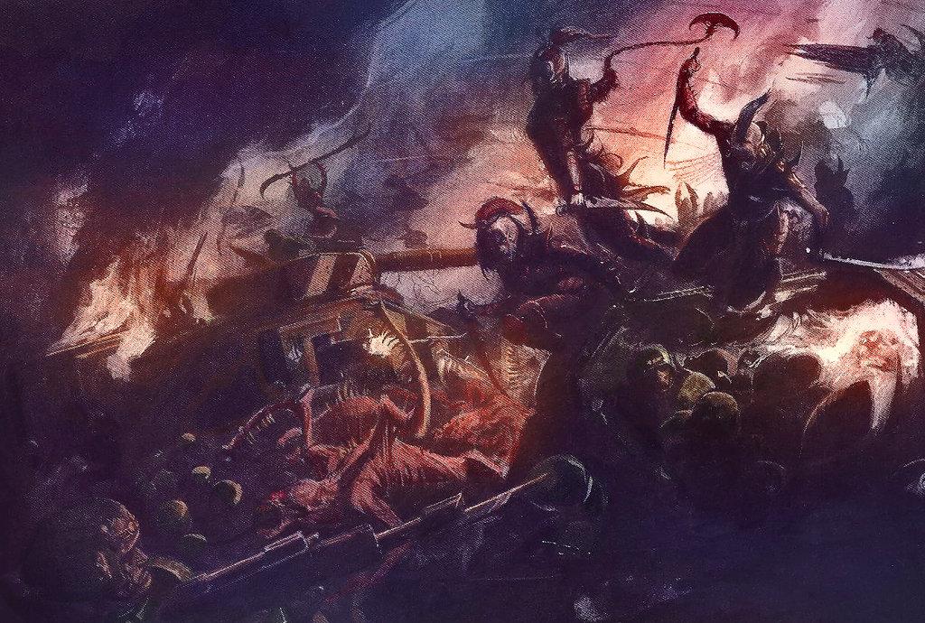 [W40K] Collection d'images : les Xenos Dark_eldar_against_Imperial_Guard
