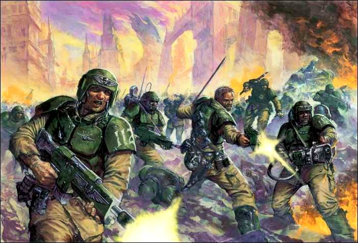 Imperial Guard in battle from the Warhammer 40k Wiki