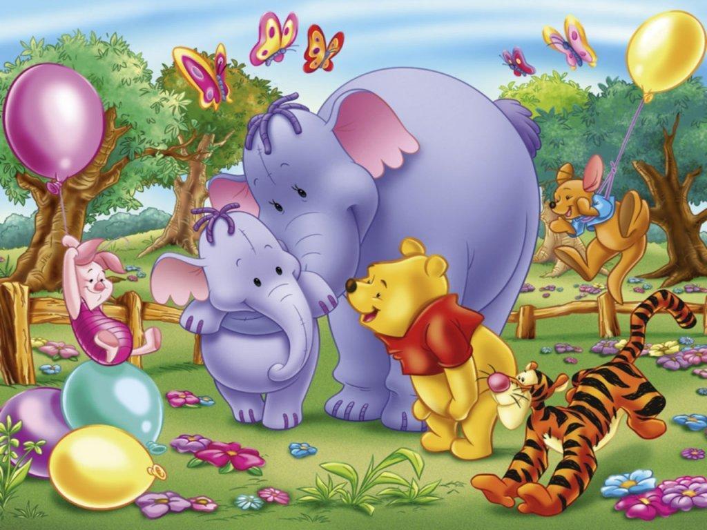 Image - Pooh Wallpaper - Mama Heffalump & Lumpy, Pooh, Tigger, Piglet ...