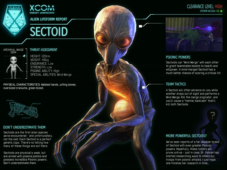 Image - XCOM-EU Sectoid jpg - XCOM WikiXcom Enemy Unknown Alien Life Form Report