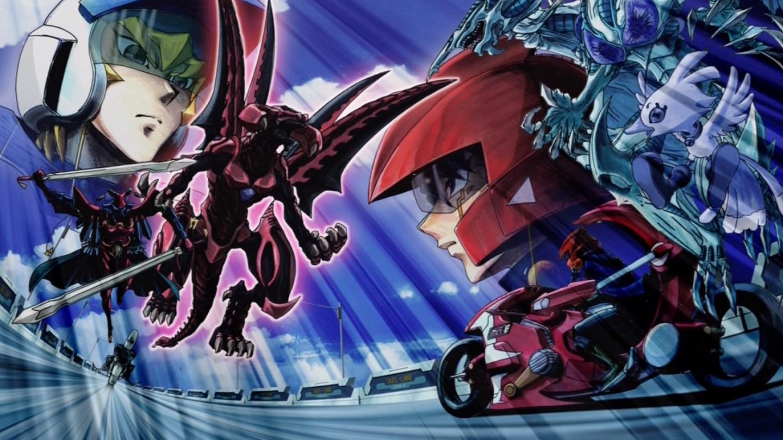 File - 5Dx153 Yusei faces Red Nova Dragon jpg - Yu-Gi-Oh Yugioh 5ds Red Nova Dragon