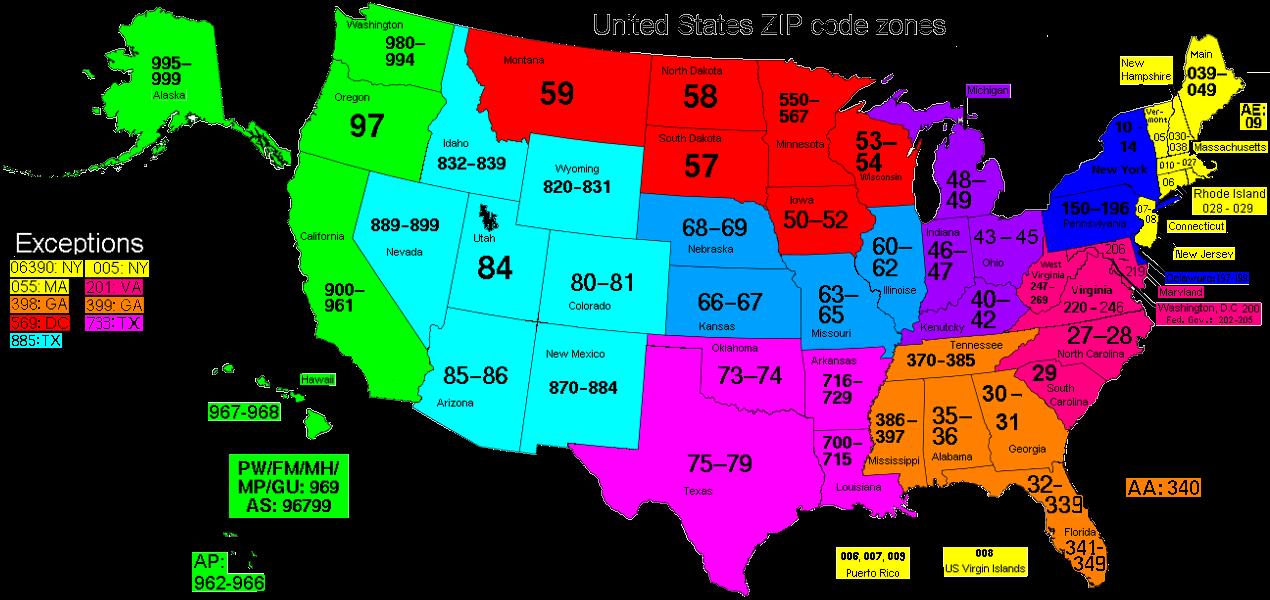 zip code of us: