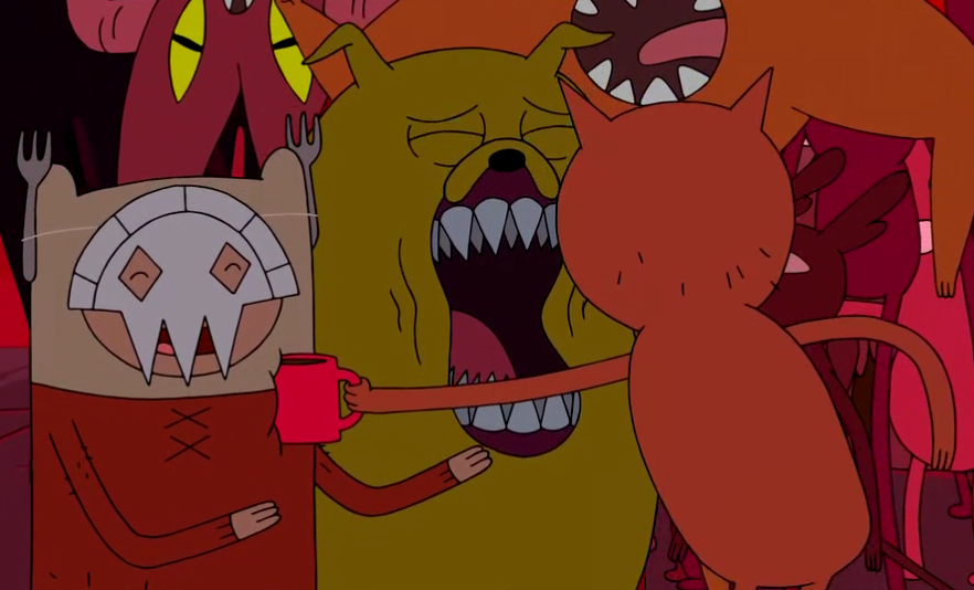 S4 E6 Line Demon hitting Finn with cup