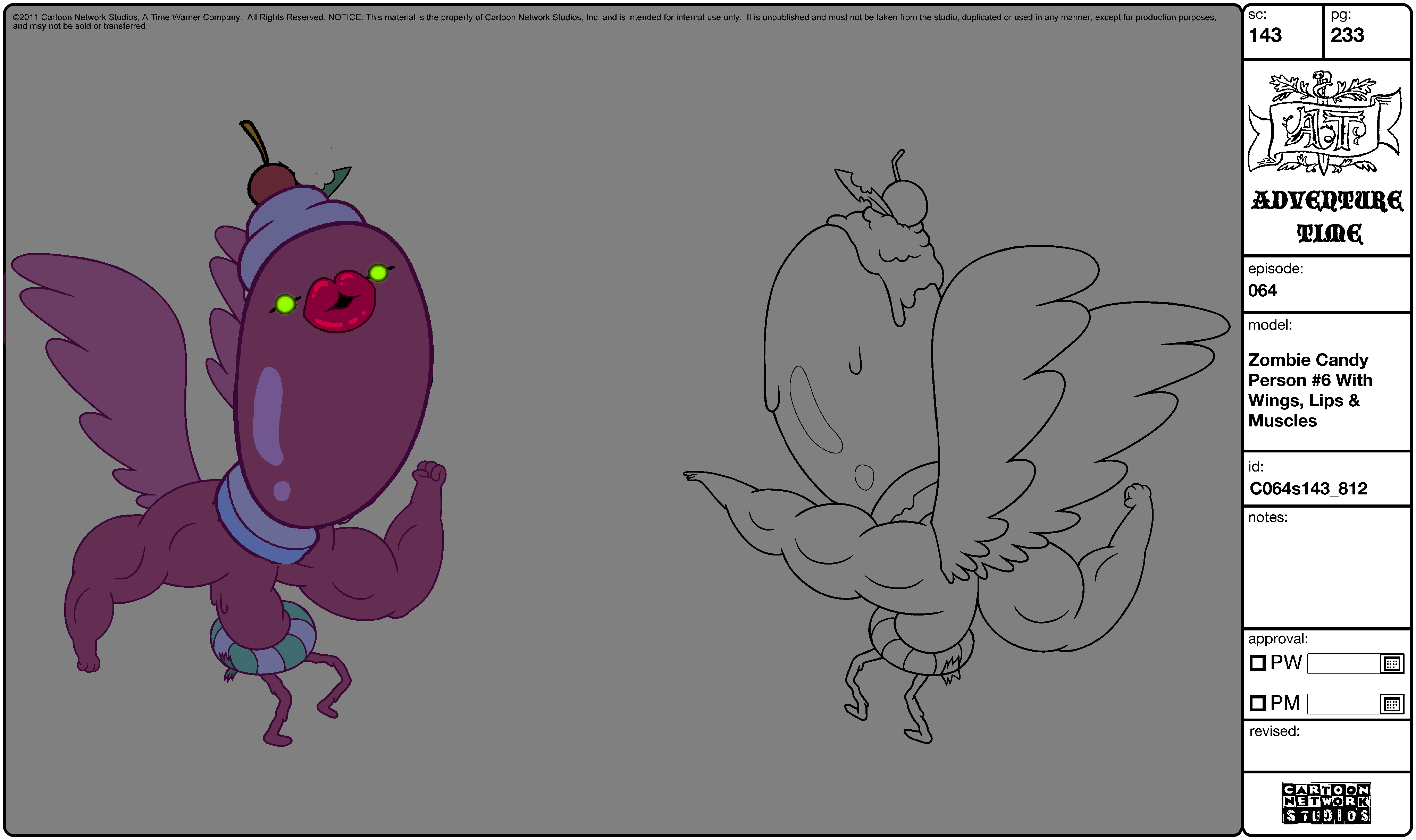 Modelsheet Zombie Candy Person -6 with Wings, Lips & Muscles