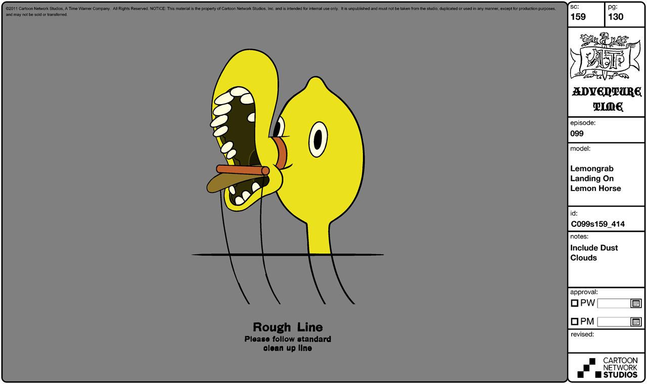 Modelsheet Lemongrab Landing on Lemon Horse