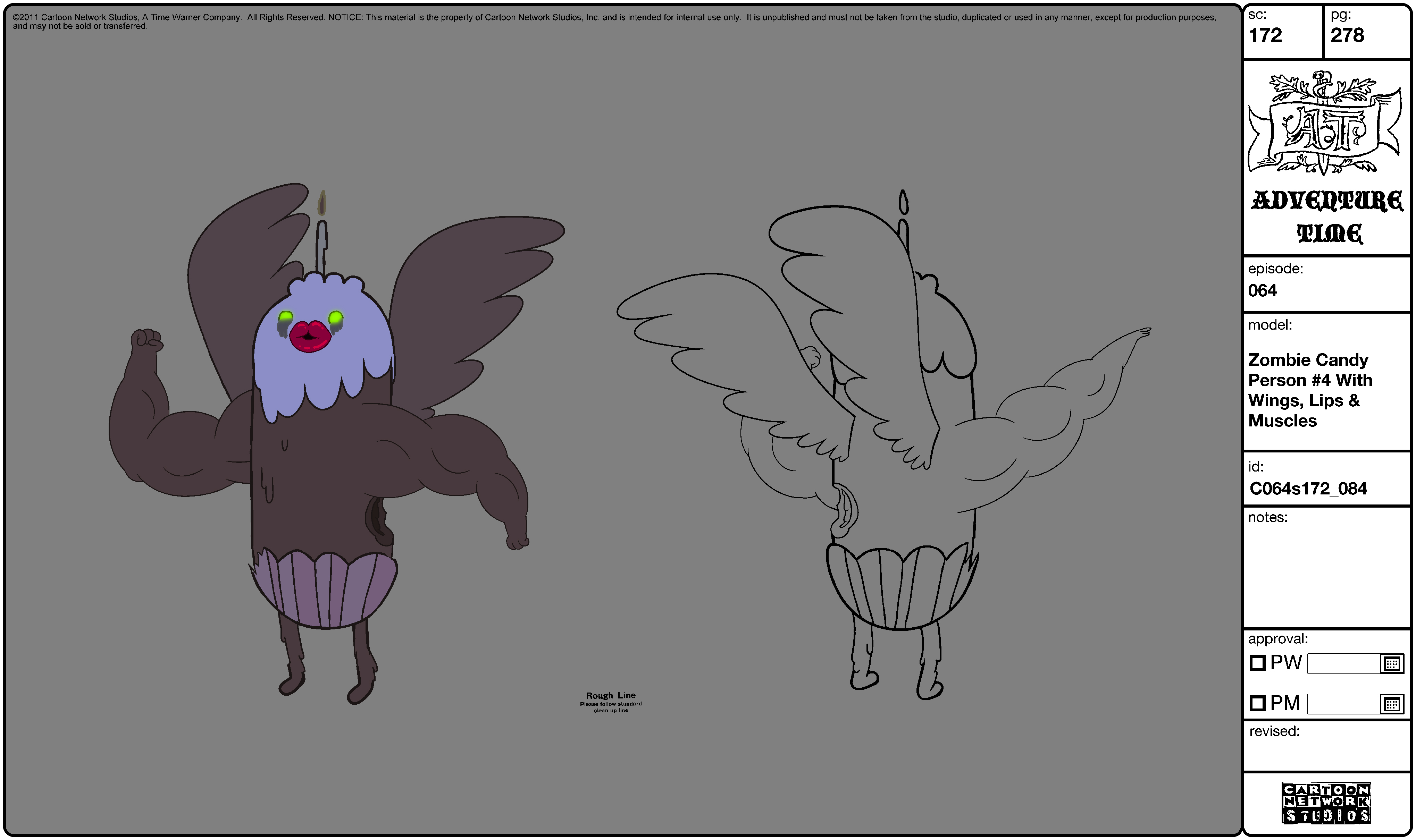 Modelsheet Zombie Candy Person -4 with Wings, Lips & Muscles